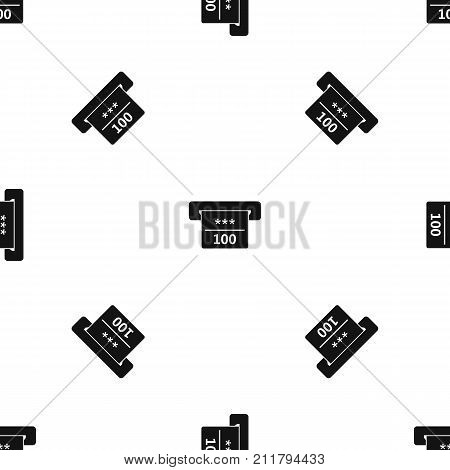 Winning cheque in casino pattern repeat seamless in black color for any design. Vector geometric illustration