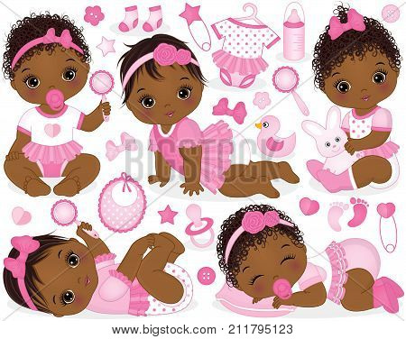 Vector set with cute African American baby girls, toys, clothes, decorations and various accessories. Vector baby girls with various hairstyles. Vector baby girl. Baby girls vector illustration