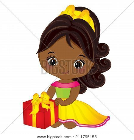 Vector cute little African American girl with gift box. Vector little girl. Little African American girl with gift box vector illustration