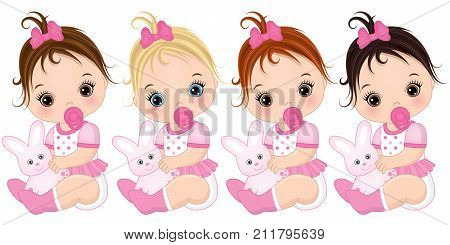 Vector cute baby girls with toy bunnies. Vector baby girls with various hair colors. Vector baby girl. Baby girls vector illustration