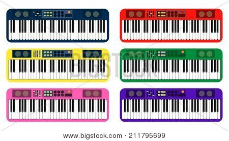Set of color flat style vector piano roll analog synthesizer faders buttons knobs display on white background EPS