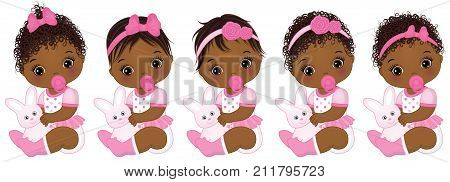 Vector cute African American baby girls with toy bunnies. Vector African American baby girls with various hairstyles.  Vector baby girl. African American baby girls vector illustration