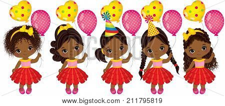 Vector cute little African American girls with balloons. Vector little girls with various hairstyles. Vector little girl. Little African American girls with balloons vector illustration