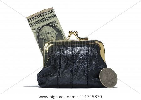 A black leather coin purse with one dollar banknotes inside and a quarter coin