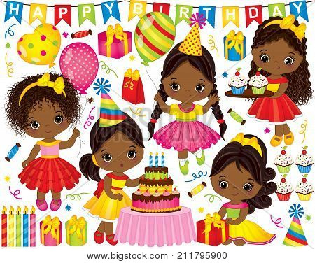 Vector birthday party set. Set includes cute little African American girls, cake, candles, balloons, cupcakes, gift boxes and party elements. Vector birthday party.  Birthday party vector illustration