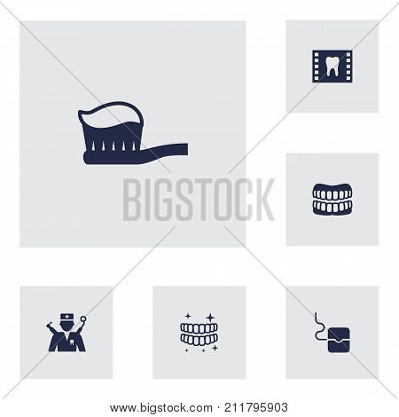 Collection Of Orthodontist, Roentgen, Halitosis And Other Elements.  Set Of 6 Dentist Icons Set.