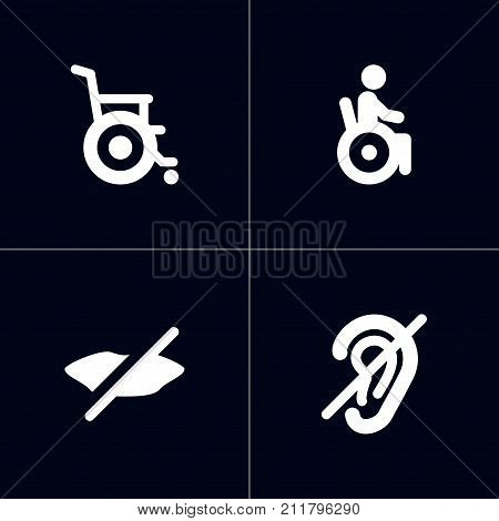 Collection Of Stroller, Universal Access, Hard Of Hearing And Other Elements.  Set Of 4 Disabled Icons Set.