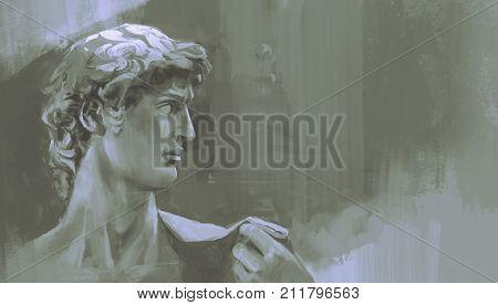 monochrome painting of Michelangelo's David statue, digital art style, illustration