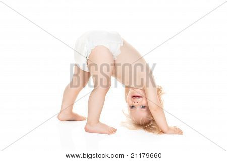 Cute Baby Girl In Diaper Playing Isolated On White