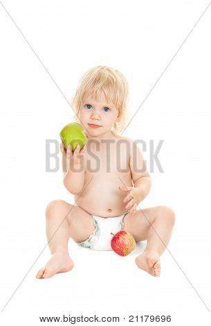 Sweet Baby Girl Holding A Green Apple Isolated On White