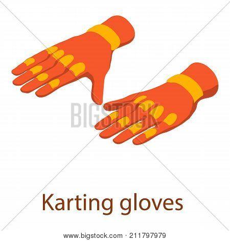 Karting gloves icon. Isometric illustration of karting gloves vector icon for web