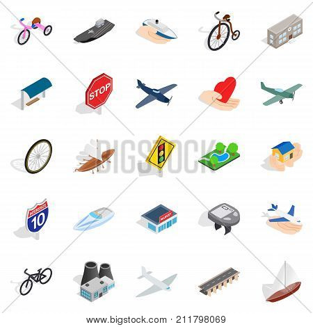 Environmentally friendly vehicle icons set. Isometric set of 25 environmentally friendly vehicle vector icons for web isolated on white background