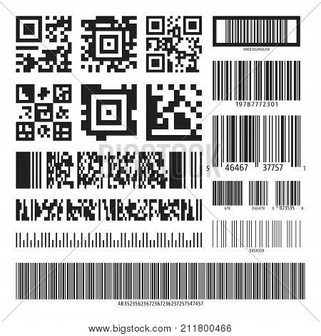 Barcode and QR code set. Collection various black bar codes qr codes isolated on white background. Vector illustration.