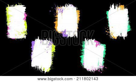 Grunge splatter frames set. Ink stains design elements. Spray splashes borders collection. Liquid stains isolated. Abstract vector illustration.