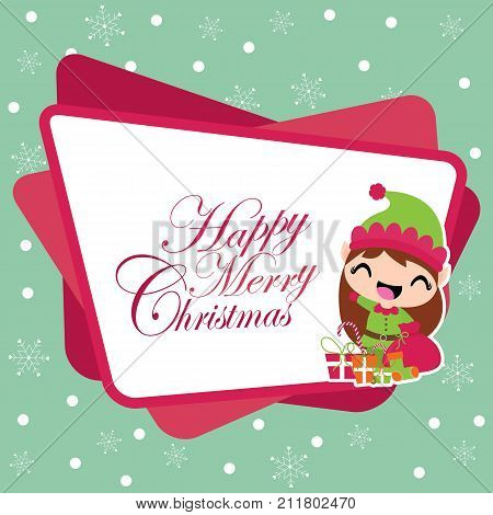 Cute elf girl with Xmas gift bag on snowflakes background vector cartoon illustration for Christmas card design, wallpaper and greeting card
