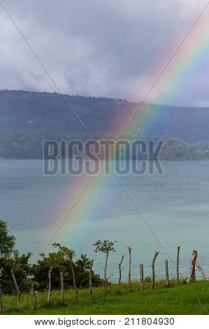 bright rainbow after a storm above Lake Arenal Costa Rica