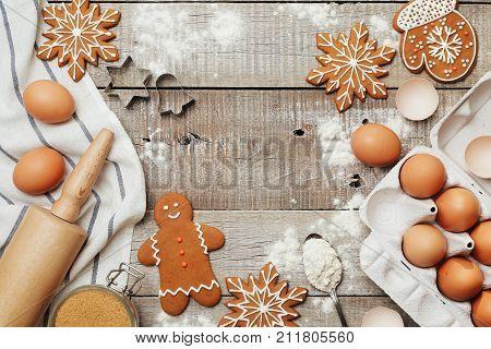 Ingredients kitchen items for baking cookies. Kitchen utensils flour eggs and sugar.