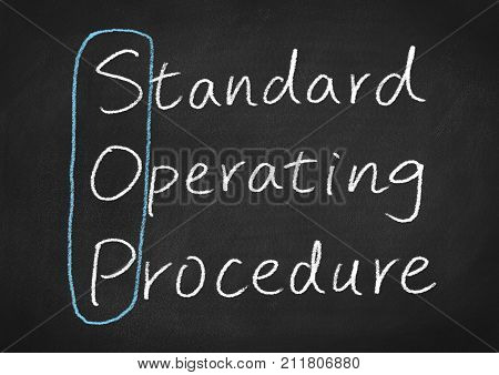 sop standard operating procedure concept words on a chalkboard background