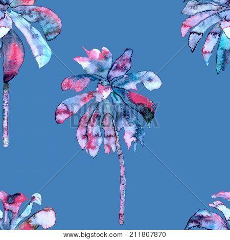 Tropic palm pattern. Exotic hawaiian geometric banana tree print. Miami beach swimwear. Seamless print with thailand flora. Aloha background. Holiday endless lei rapport with brazil jungles.