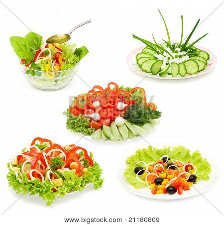 Collage Of Different Salads