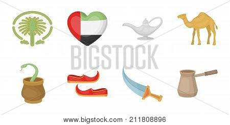 Country United Arab Emirates icons in set collection for design. Tourism and attraction vector symbol stock  illustration.