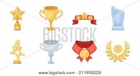 Awards and prizes icons in set collection for design.Reward aa achievement vector symbol stock  illustration.