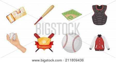 Baseball and attributes icons in set collection for design.Baseball player and equipment vector symbol stock  illustration.