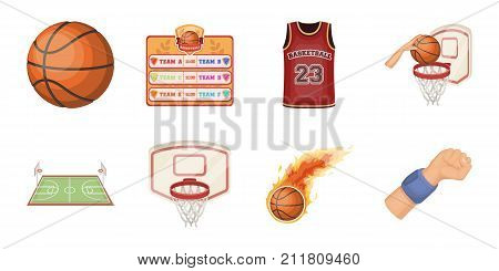 Basketball and attributes icons in set collection for design.Basketball player and equipment vector symbol stock  illustration.
