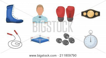 Boxing extreme sports icons in set collection for design. Boxer and attributes vector symbol stock  illustration.