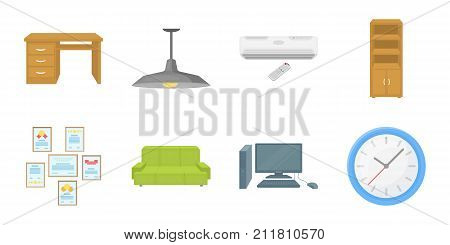Interior of the workplace icons in set collection for design. Office furniture vector symbol stock  illustration.