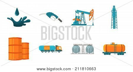 Oil industry icons in set collection for design. Equipment and oil production vector symbol stock  illustration.