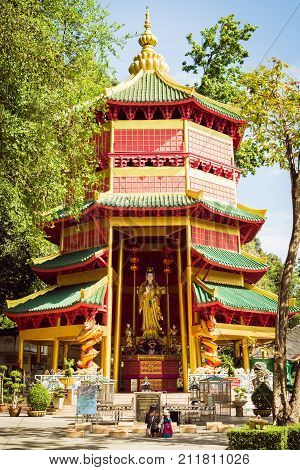 Krabi Thailand - October 25 2017 : Chinese style pagoda with a giant statue of Guan Yin or goddess of compassion and mercy at Tiger Cave Temple (Wat Tham Seua). Krabi Thailand.