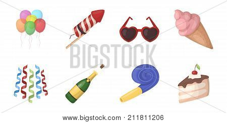 Party, entertainment icons in set collection for design. Celebration and treat vector symbol stock  illustration.
