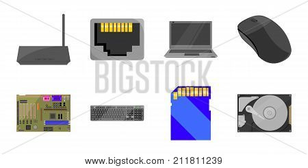 Personal computer icons in set collection for design. Equipment and accessories vector symbol stock  illustration.