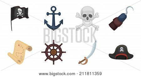 Pirate, sea robber icons in set collection for design. Treasures, attributes vector symbol stock  illustration.