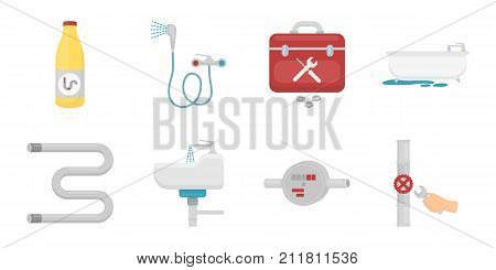 Plumbing, fitting icons in set collection for design. Equipment and tools vector symbol stock  illustration.