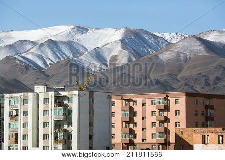 Mongolian city, houses and mountains, Bayan-Olgii province of Mongolia.