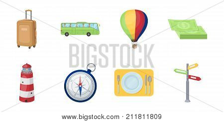 Rest and travel icons in set collection for design. Transport, tourism vector symbol stock  illustration.
