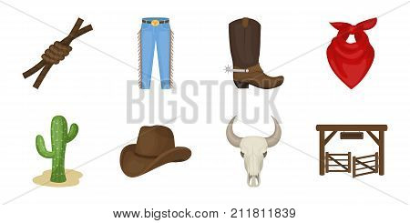 Rodeo, competition icons in set collection for design. Cowboy and equipment vector symbol stock  illustration.