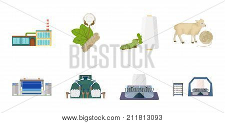 Textile industry icons in set collection for design.Textile equipment and fabrics vector symbol stock  illustration.