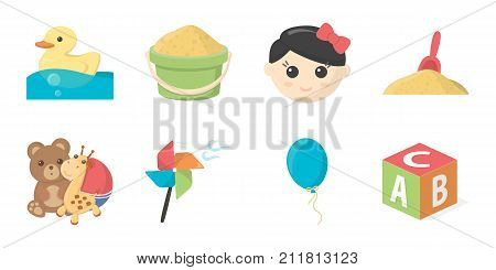 Children's toy icons in set collection for design. Game and bauble vector symbol stock  illustration.