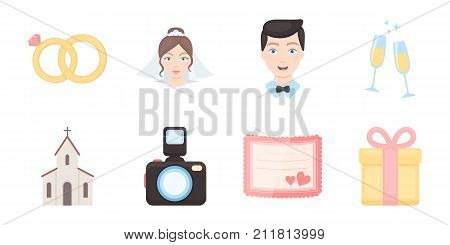 Wedding and Attributes icons in set collection for design.Newlyweds and Accessories vector symbol stock  illustration.