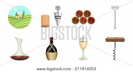 Wine products icons in set collection for design. Equipment and production of wine vector symbol stock  illustration.