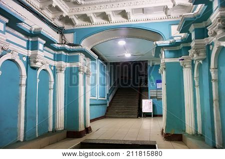 SAINT PETERSBURG, RUSSIA - NOVEMBER 03, 2014: Elegant entrance of the old profitable house of Chubakovs. Built in 1910-1911 by the architect Wilhelm van der Gucht.