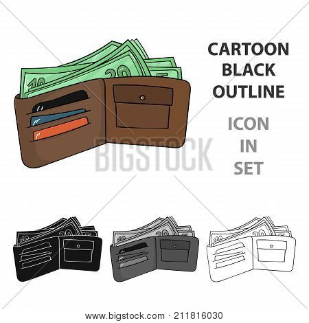 Wallet with cash icon in cartoon design isolated on white background. Supermarket symbol stock vector illustration.