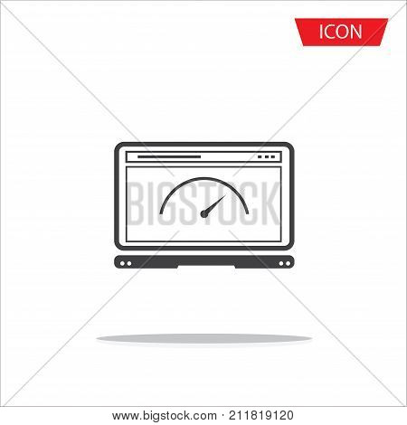 Browser speed , browser speed test isolated on white background.