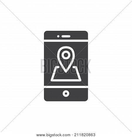 Smartphone with location pin icon vector, filled flat sign, solid pictogram isolated on white. Mobile phone GPS navigation symbol, logo illustration.