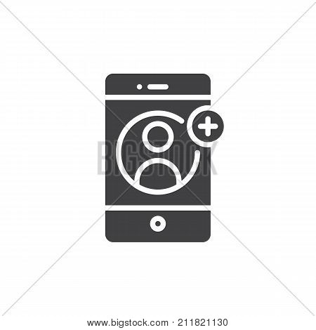 Smartphone with contact add on display icon vector, filled flat sign, solid pictogram isolated on white. Add user symbol, logo illustration.
