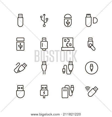 Usb icon set. Collection of high quality outline Flash drive pictograms in modern flat style. Black information symbol for web design and mobile app on white background. Usb cable line logo.