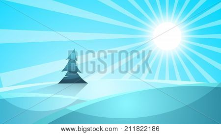 Cartoon snow landscape. Sun, snow, fir mountine illustration Vector eps 10